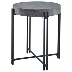 Contemporary Round End Table with Faux Concrete Top