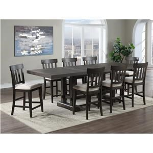 Contemporary 9-Piece Counter Height Dining Set with Leaves