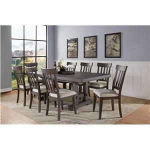 Contemporary 9-Piece Standard Height Dining Set with Leaves