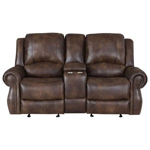 Manual Recliner Console Loveseat
