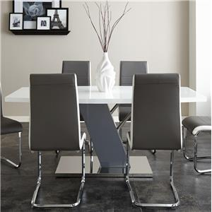 White Rectangular Table with Chrome Plated Base