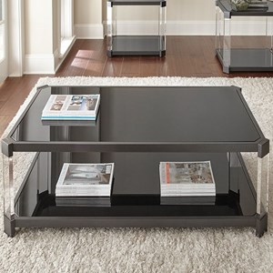 Cocktail Table with Casters and Black Tempered Glass Top