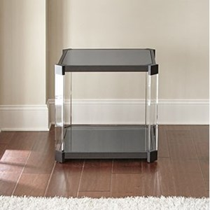 End Table with Black Tempered Glass Top