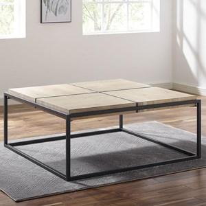Acacia/Metal Square Coffee Table