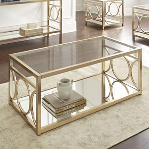 Glam Metal and Glass Cocktail Table