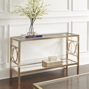 Glam Metal and Glass Sofa Table