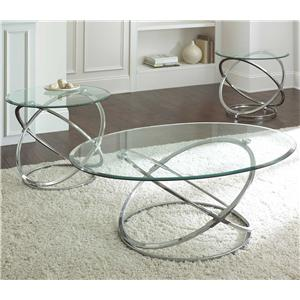 3 Piece Occasional Set with Geometric Metal Bases
