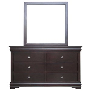 Louis Philippe Style Six Drawer Dresser & Mirror