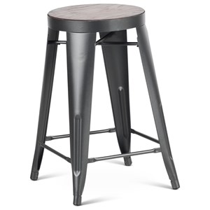 Industrial Metal Counter Stool with Wood Seat