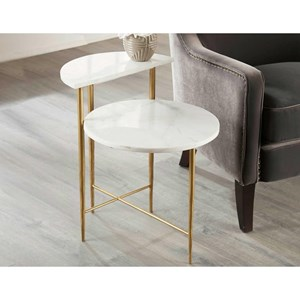 Glam End Table with Multi-Level White Marble Top