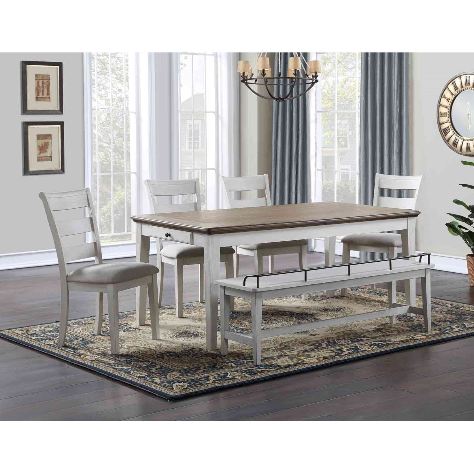 Pendleton 6-Piece Formal Dining Set with Bench  by Steve Silver at Van Hill Furniture