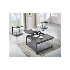 Square Lift Top Cocktail Table and 2 Square End Tables Set