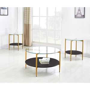 Contemporary 3-Pack Occasional Tables with Glass Tops