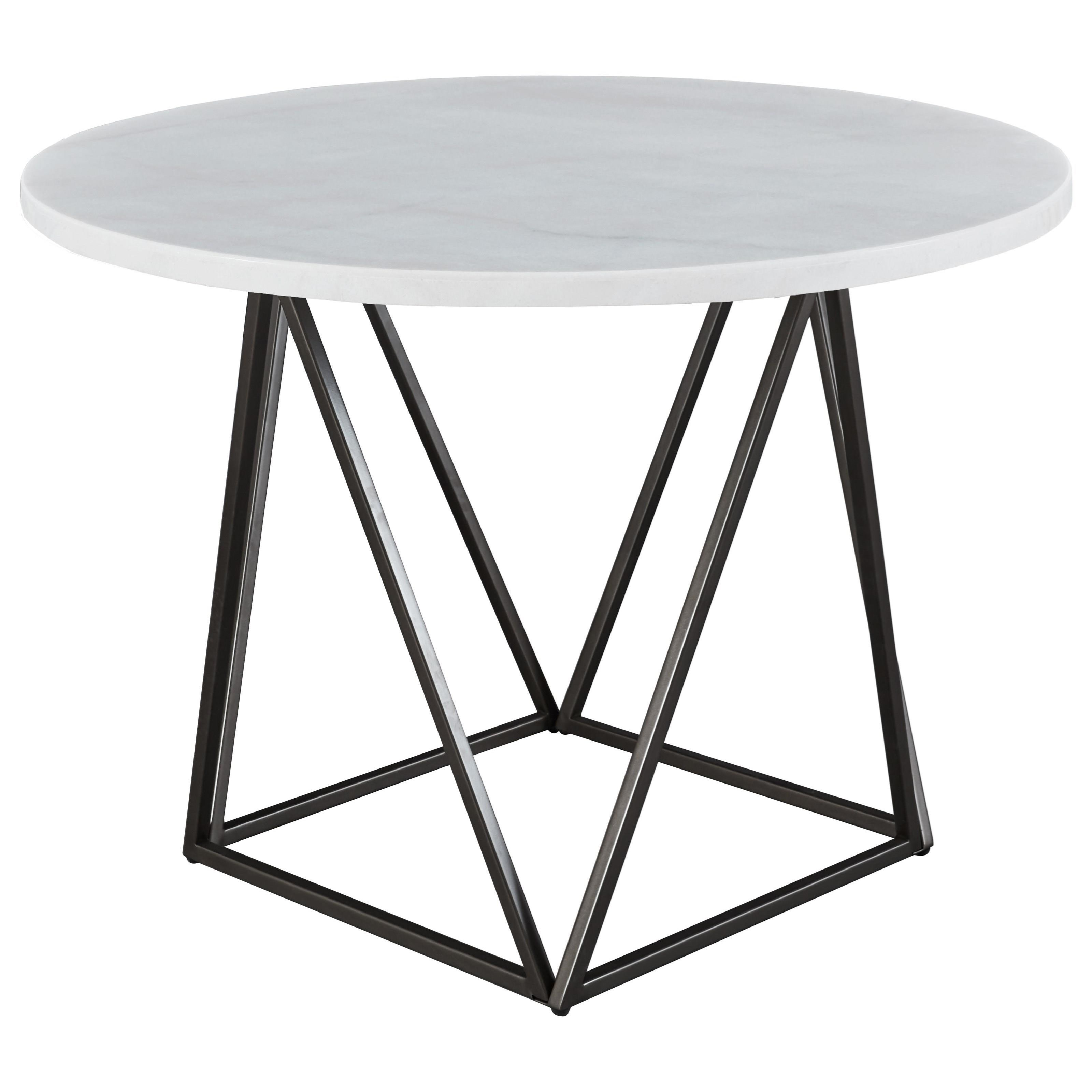 Ramona White Marble Top Round Dining Table by Steve Silver at Northeast Factory Direct
