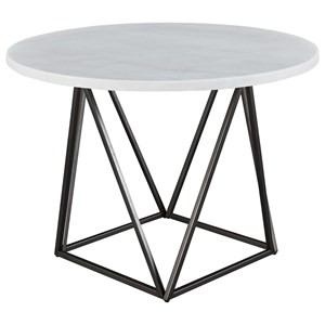 Contemporary White Marble Top Round Dining Table