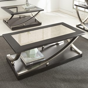 Rectangle Cocktail Table with Hidden Caster and Antique Mirror Top