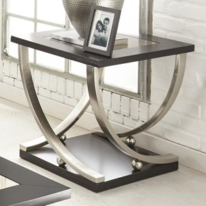 Square End Table with Antique Mirror Top