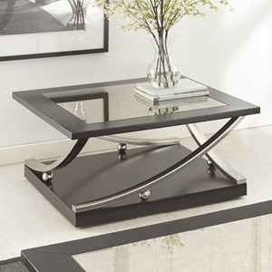 Square Cocktail Table with Hidden Caster and Antique Mirror Top