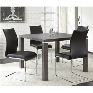 5 Piece Table with Charcoal Gray Finish and Upholstered Chair Set