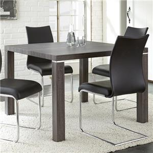 Charcoal Gray Finish Silver Shield Kitchen Dining Table with Laminate Top and Chrome Accents