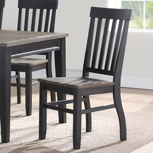 Casual Two Tone Slat Back Side Chair