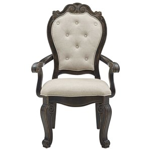 Traditional Upholstered Arm Chair with Button-Tufting