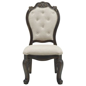 Traditional Upholstered Side Chair with Button-Tufting