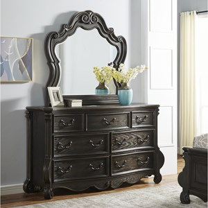 Traditional 7-Drawer Dresser and Mirror Set