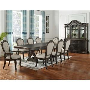 Dining Table with 2 Arm, 4 Side Chairs and China