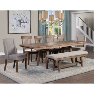 Rustic 8-Piece Dining Table Set with Expandable Leaves