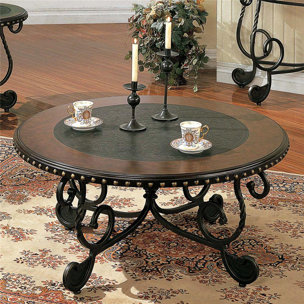 Rosemont Round Metal Cocktail Table by Steve Silver at Walker's Furniture