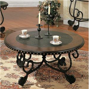 Traditional Round Metal Cocktail Table