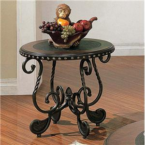 Traditional Round Metal End Table