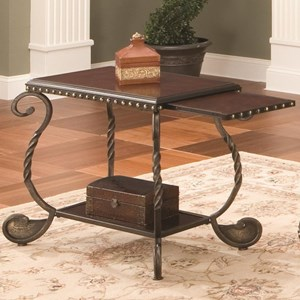Traditional Metal Chairside End Table with Pull-Out Shelf