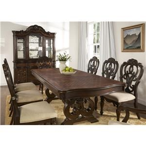 Pedestal Dining Table, 4 Side Chairs, and 2 Arm Chairs