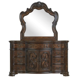 Traditional Dresser and Mirror Set with Felt-Lined Drawers