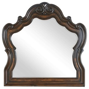 Traditional Dresser Mirror with Scroll Carvings