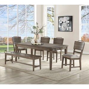 Transitional Dining Table and Chair Set with Bench