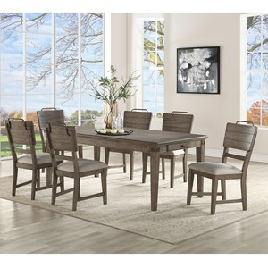 Transitional 7 Piece Dining and Chair Set