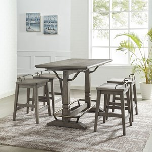 Transitional 5-Piece Counter Height Table and Stool Set