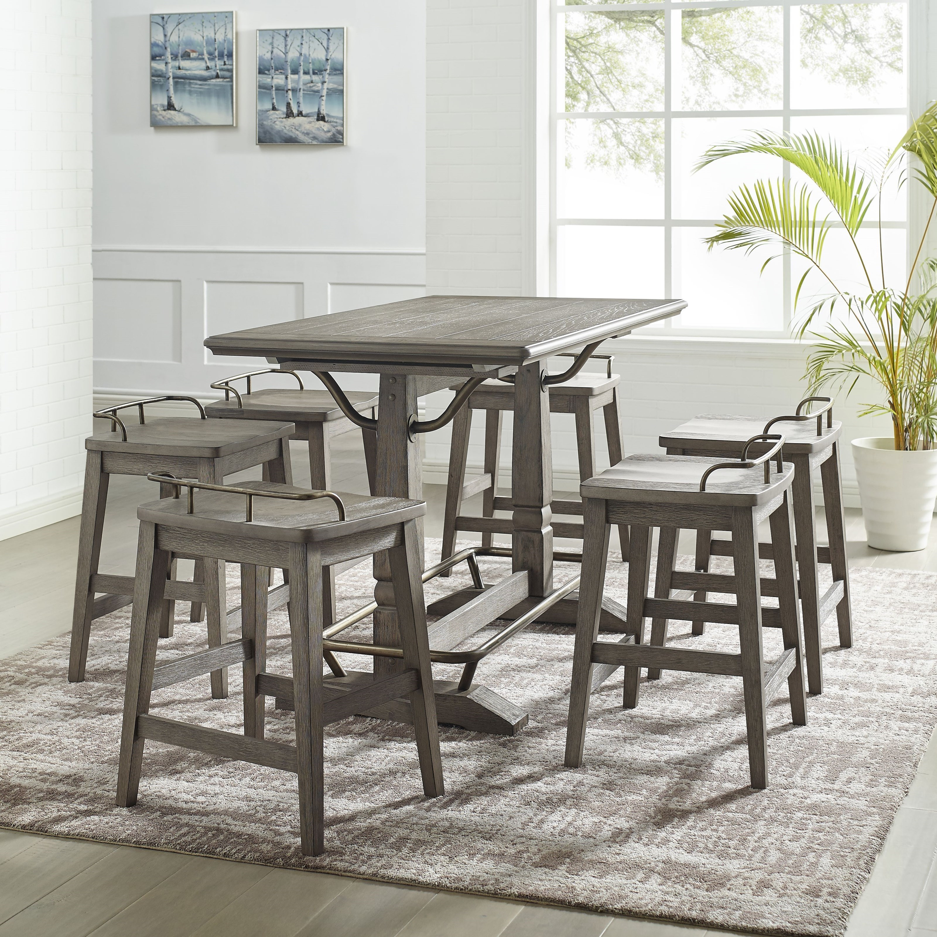 Ryan 7-Piece Counter Height Table and Stool Set by Steve Silver at Wayside Furniture