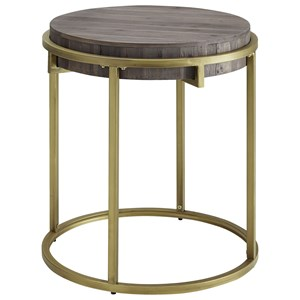 Round End Table with Reclaimed Fir Wood Top