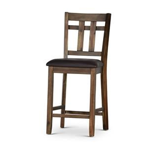 Rustic Counter Height Dining Side Chair with Upholstered Seating