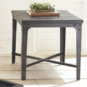 Square End Table with Iron Frame