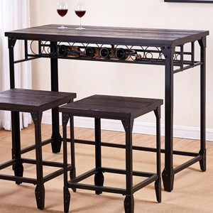 Industrial Style Counter Table with Wine Rack