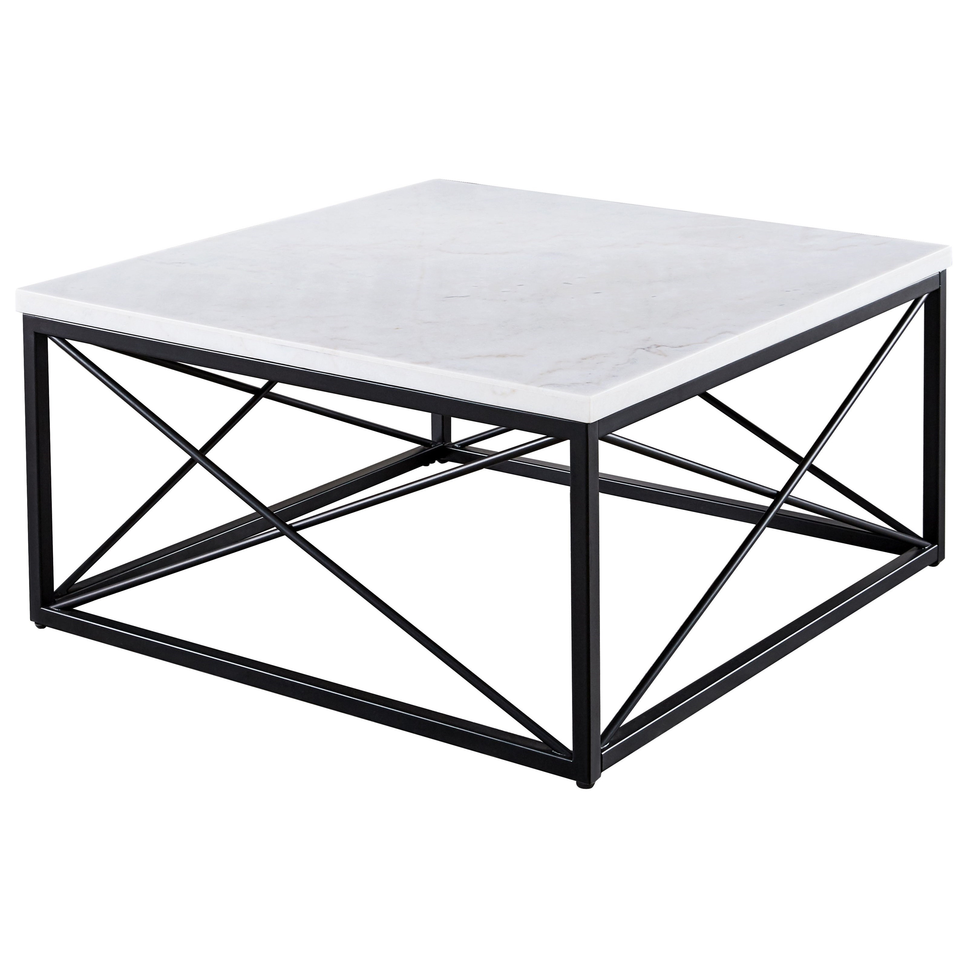 Skyler White Marble Top Square Cocktail Table by Steve Silver at Dream Home Interiors