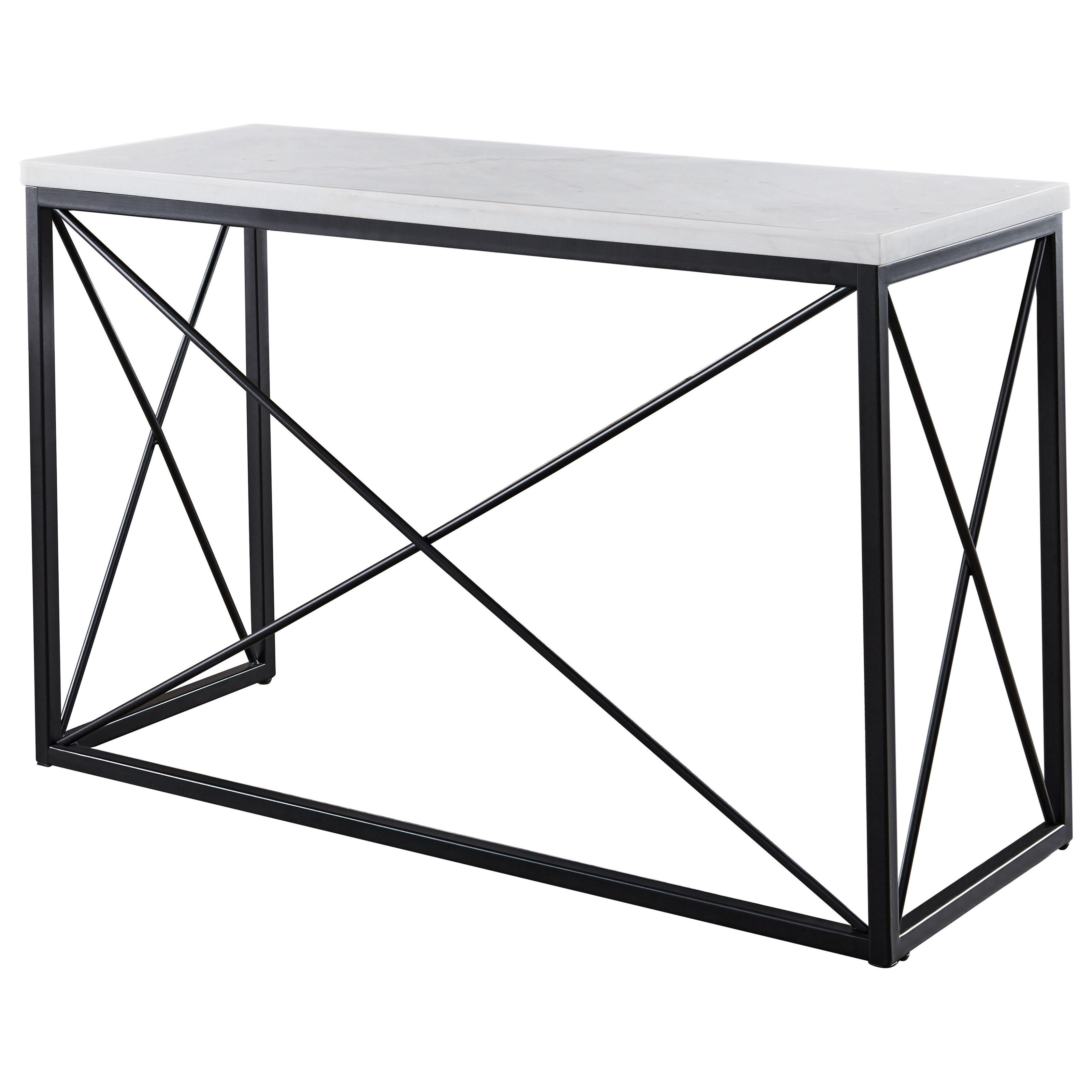 Skyler White Marble Top Rectangle Sofa Table by Steve Silver at Walker's Furniture