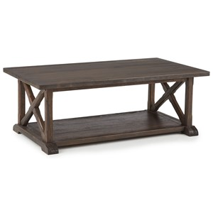 Rustic Cocktail Table with Lower Shelf