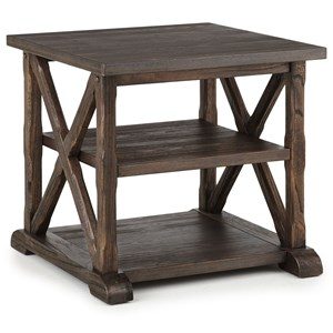 Rustic Square End Table with Two Shelves