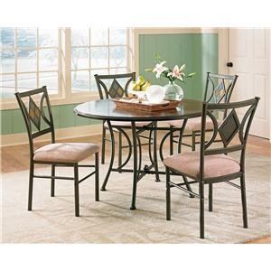 5-Piece Casual Round Pedestal Table & Side Chair Set